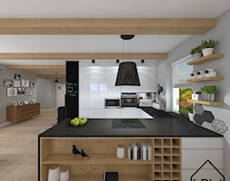 Salon z jadalnią i aneksem / Dom z bali - Duża otwarta szara kuchnia w kształcie litery u, styl nowoczesny - zdjęcie od KRU design
