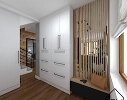 Salon z ukrytą garderobą - Garderoba, styl nowoczesny - zdjęcie od KRU design - Homebook