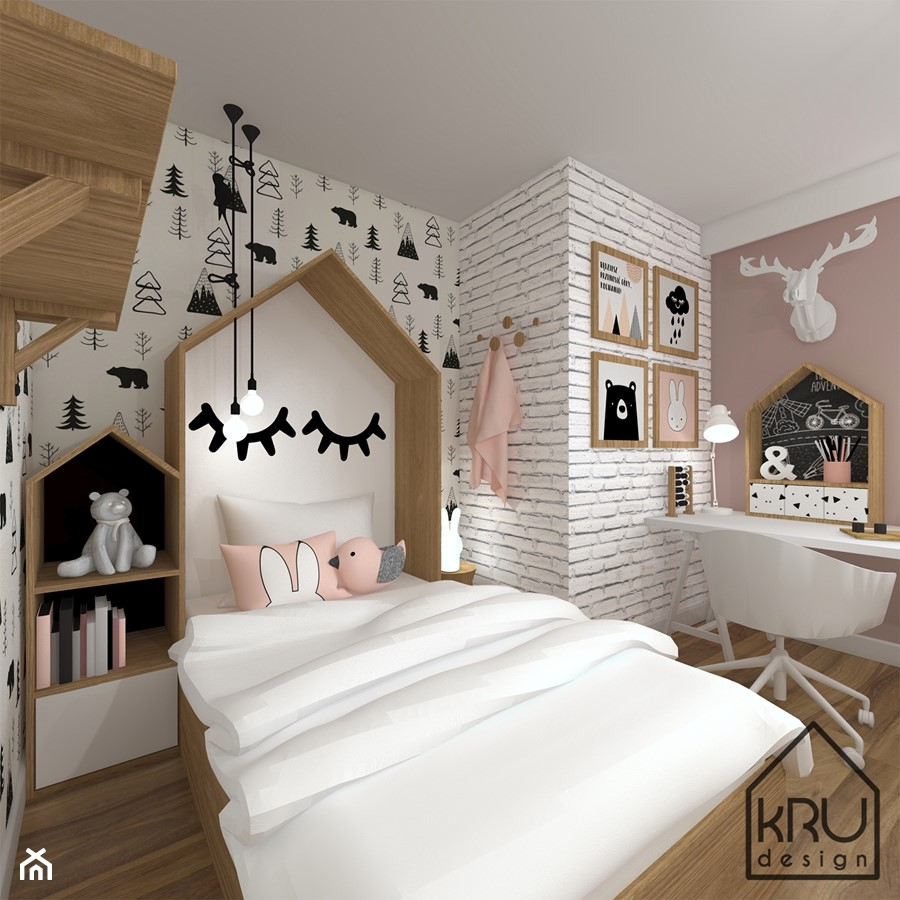 Aranżacje wnętrz - Pokój dziecka: Pokój dziewczynki - KRU design . Przeglądaj, dodawaj i zapisuj najlepsze zdjęcia, pomysły i inspiracje designerskie. W bazie mamy już prawie milion fotografii!