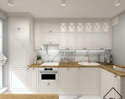 Salon z aneksem kuchennym - Mała szara kuchnia w kształcie litery l w aneksie, styl klasyczny - zdjęcie od KRU design
