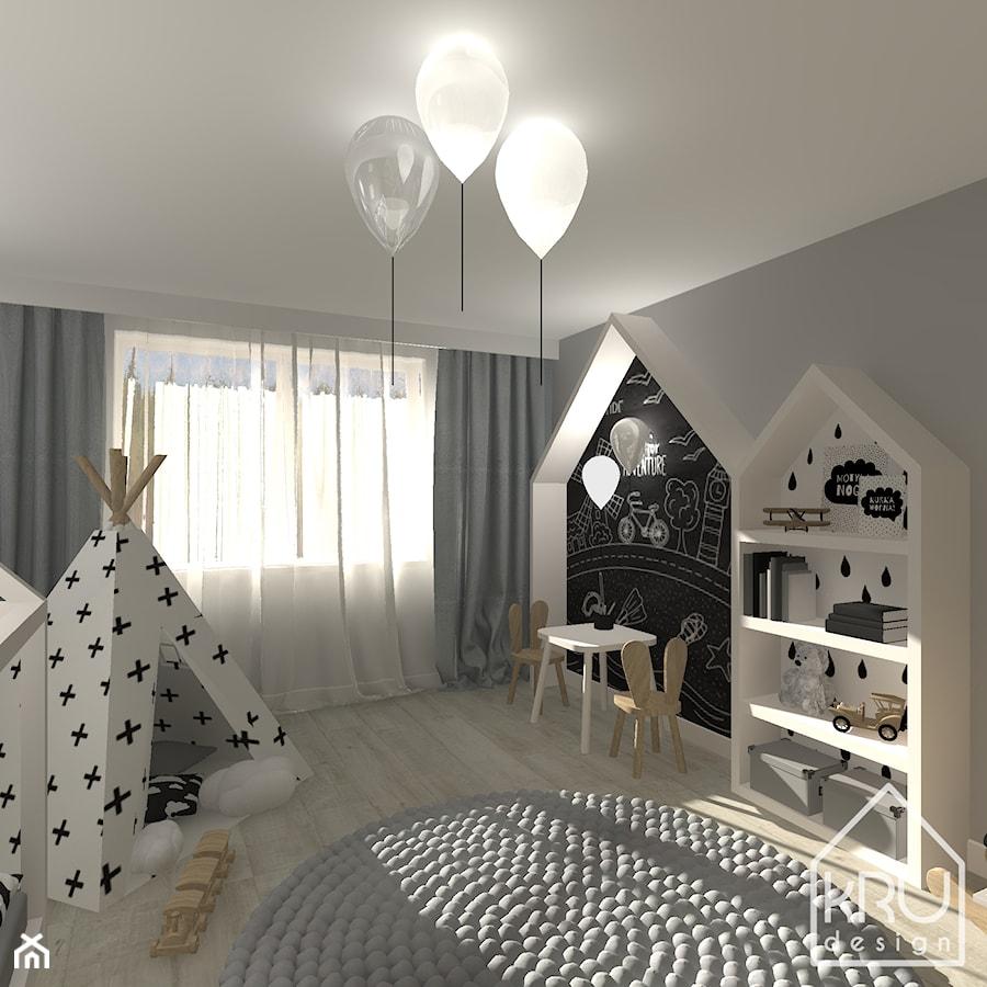 Pokój dziecięcy - Średni szary pokój dziecka dla chłopca dla dziewczynki dla ucznia dla malucha, styl skandynawski - zdjęcie od KRU design