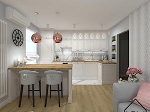 Salon z aneksem kuchennym - Średnia szara kuchnia w kształcie litery l w aneksie z wyspą z oknem, styl klasyczny - zdjęcie od KRU design