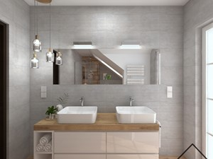 Nowoczesna łazienka w szarości i drewnie - Duża biała łazienka na poddaszu w bloku w domu jednorodzinnym z oknem, styl nowoczesny - zdjęcie od KRU design