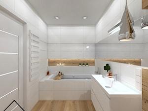 Biała Łazienka styl nowoczesny - Średnia biała łazienka w bloku w domu jednorodzinnym bez okna, styl nowoczesny - zdjęcie od KRU design