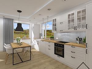 Salon z aneksem w bieli, drewnie i szarości - Średnia otwarta biała szara kuchnia jednorzędowa w aneksie z oknem, styl rustykalny - zdjęcie od KRU design