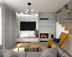 Cegła, beton i drewno w salonie - Salon, styl nowoczesny - zdjęcie od KRU design - Homebook