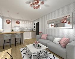 Salon z aneksem kuchennym - Mały szary salon z kuchnią z jadalnią, styl glamour - zdjęcie od KRU design