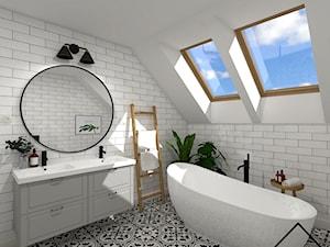 Czarno-biały patchwork w łazience