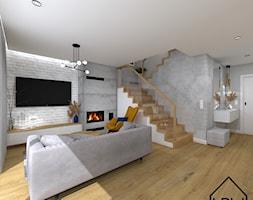 Cegła, beton i drewno w salonie - Salon, styl eklektyczny - zdjęcie od KRU design - Homebook
