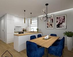 Cegła, beton i drewno w salonie - Jadalnia, styl nowoczesny - zdjęcie od KRU design - Homebook