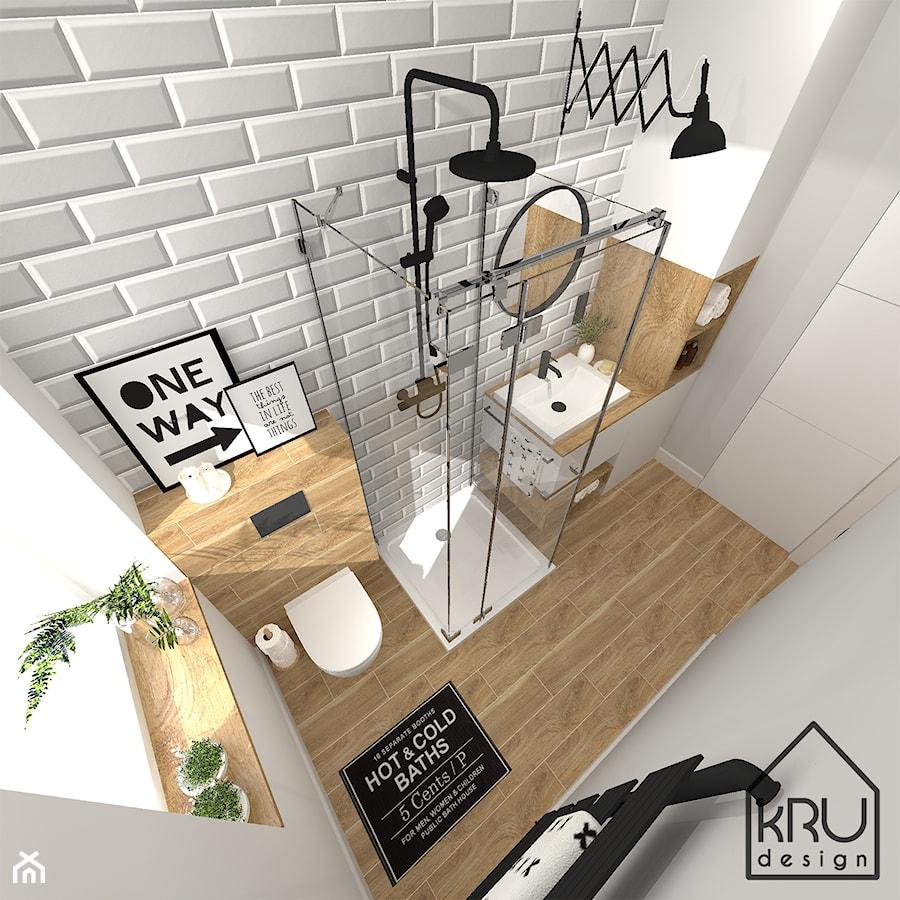 Szara cegiełka w łazience - Mała szara łazienka w bloku w domu jednorodzinnym z oknem, styl industrialny - zdjęcie od KRU design
