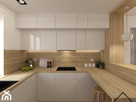 Aranżacje wnętrz - Kuchnia: Kuchnia w bieli i drewnie - Średnia otwarta biała kuchnia w kształcie litery u z oknem, styl nowocz ... - KRU design . Przeglądaj, dodawaj i zapisuj najlepsze zdjęcia, pomysły i inspiracje designerskie. W bazie mamy już prawie milion fotografii!