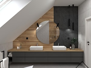Czerń, grafit i drewno w łazience