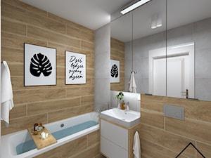Beton i drewno w łazience