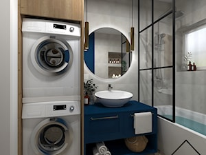 Łazienka z granatem - Średnia niebieska szara łazienka z oknem, styl nowoczesny - zdjęcie od KRU design