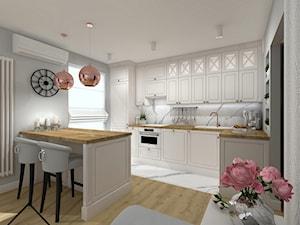 Salon z aneksem kuchennym - Średnia biała szara kuchnia w kształcie litery l w aneksie z wyspą z oknem, styl klasyczny - zdjęcie od KRU design