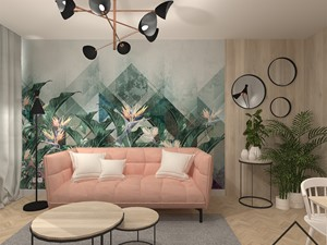 Salon - Mały biały zielony salon - zdjęcie od KRU design