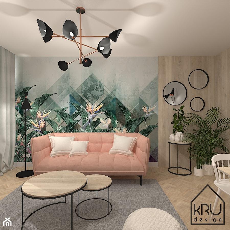Aranżacje wnętrz - Salon: Salon - Mały biały zielony salon - KRU design . Przeglądaj, dodawaj i zapisuj najlepsze zdjęcia, pomysły i inspiracje designerskie. W bazie mamy już prawie milion fotografii!