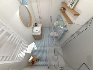 Niebieska łazienka przy sypialni głównej - Mała łazienka w bloku w domu jednorodzinnym bez okna, styl skandynawski - zdjęcie od KRU design