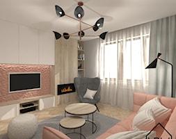 Salon - Mały biały różowy salon - zdjęcie od KRU design