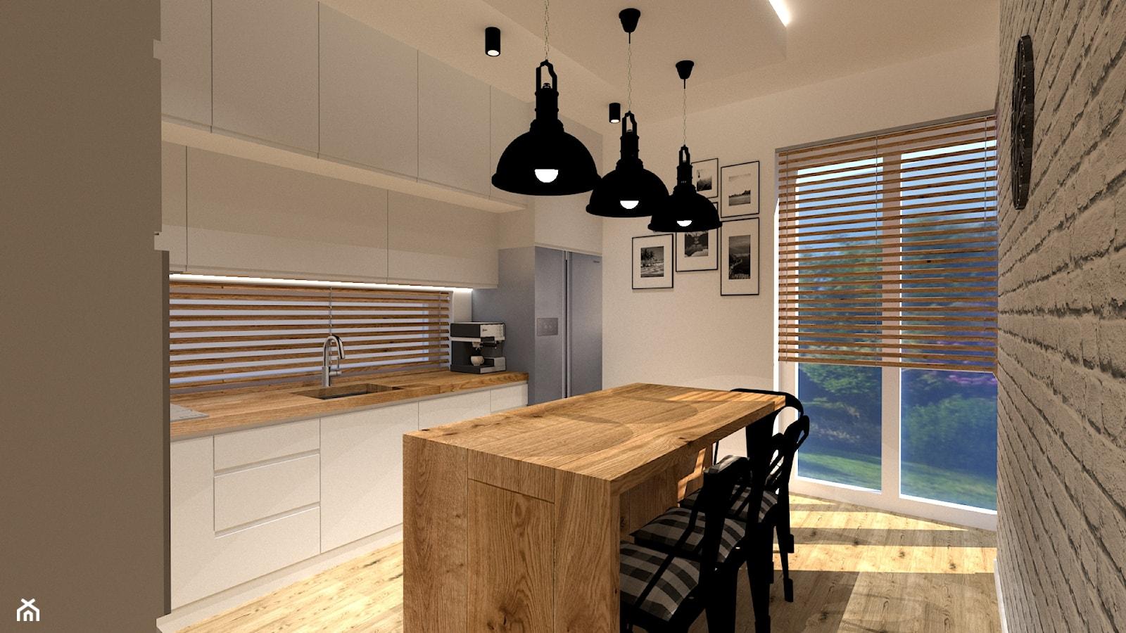 Kuchnia loft - Średnia otwarta biała kuchnia w kształcie litery l z wyspą z oknem, styl nowoczesny - zdjęcie od MILARTO - Homebook