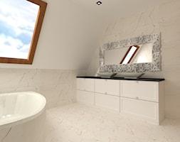Łazienka - Mała beżowa łazienka na poddaszu w domu jednorodzinnym z oknem, styl glamour - zdjęcie od MILARTO