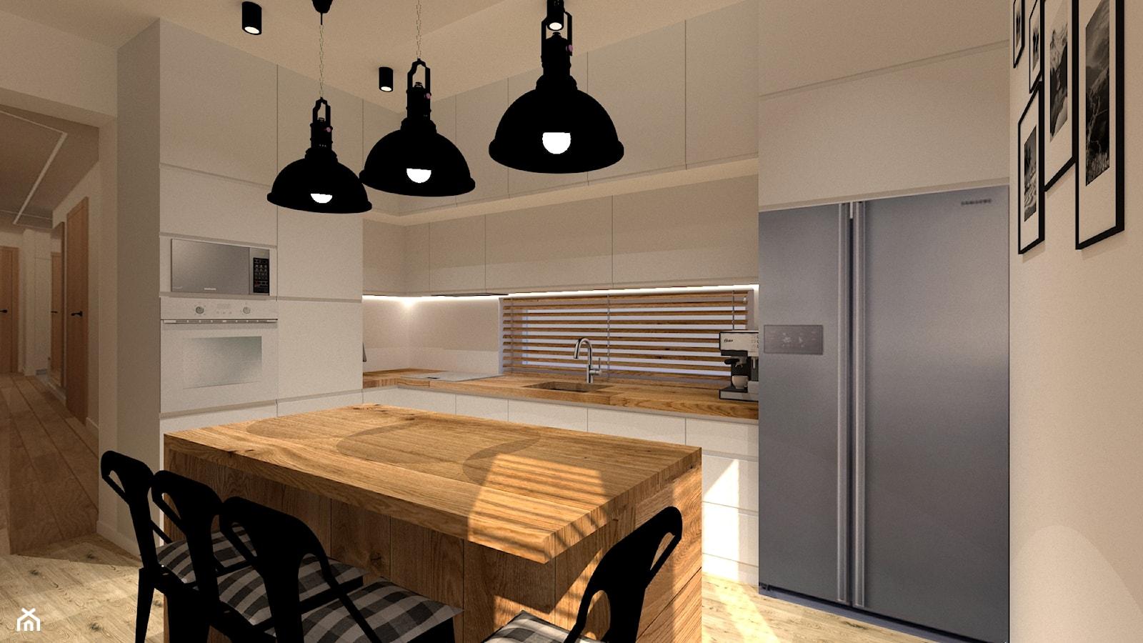 Kuchnia loft - Duża otwarta beżowa kuchnia w kształcie litery l z wyspą z oknem, styl nowoczesny - zdjęcie od MILARTO - Homebook