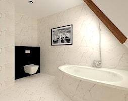 Łazienka - Średnia beżowa czarna łazienka na poddaszu w domu jednorodzinnym bez okna, styl glamour - zdjęcie od MILARTO