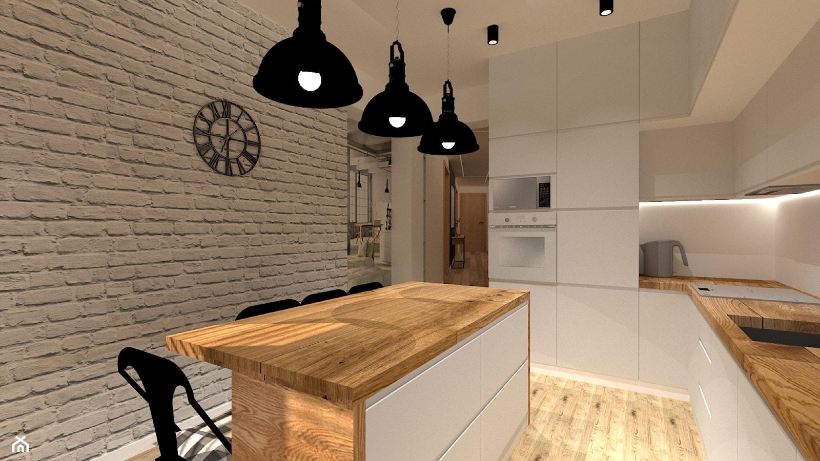 Kuchnia loft - Duża zamknięta szara kuchnia w kształcie litery l z wyspą, styl nowoczesny - zdjęcie od MILARTO - Homebook