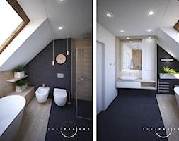 Wnętrza domu jednorodzinnego - Średnia biała czarna łazienka na poddaszu w domu jednorodzinnym z oknem, styl nowoczesny - zdjęcie od Taki Projekt