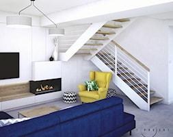 Wnętrza domu jednorodzinnego - Średni biały salon z tarasem / balkonem, styl nowoczesny - zdjęcie od Taki Projekt - Homebook