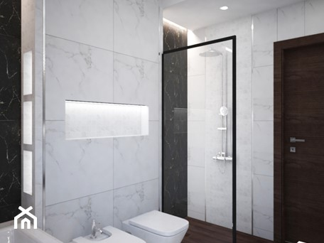 Aranżacje wnętrz - Łazienka: Łazienki w domu jednorodzinnym - Średnia biała czarna szara łazienka bez okna, styl glamour - Taki Projekt. Przeglądaj, dodawaj i zapisuj najlepsze zdjęcia, pomysły i inspiracje designerskie. W bazie mamy już prawie milion fotografii!