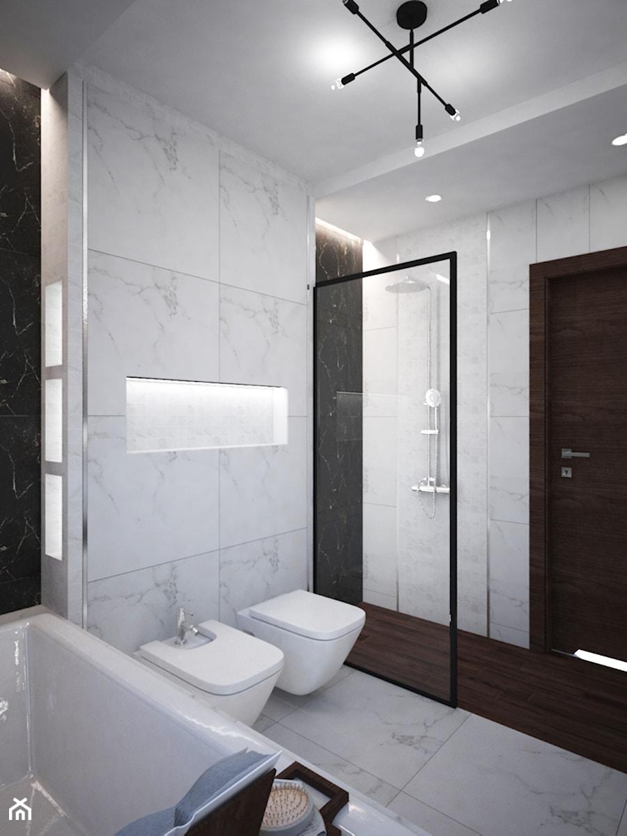 Łazienki w domu jednorodzinnym - Średnia biała czarna szara łazienka bez okna, styl glamour - zdjęcie od Taki Projekt