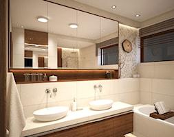 Wnętrza domu jednorodzinnego - styl rustykalny - Średnia biała beżowa łazienka z oknem, styl skandynawski - zdjęcie od Taki Projekt