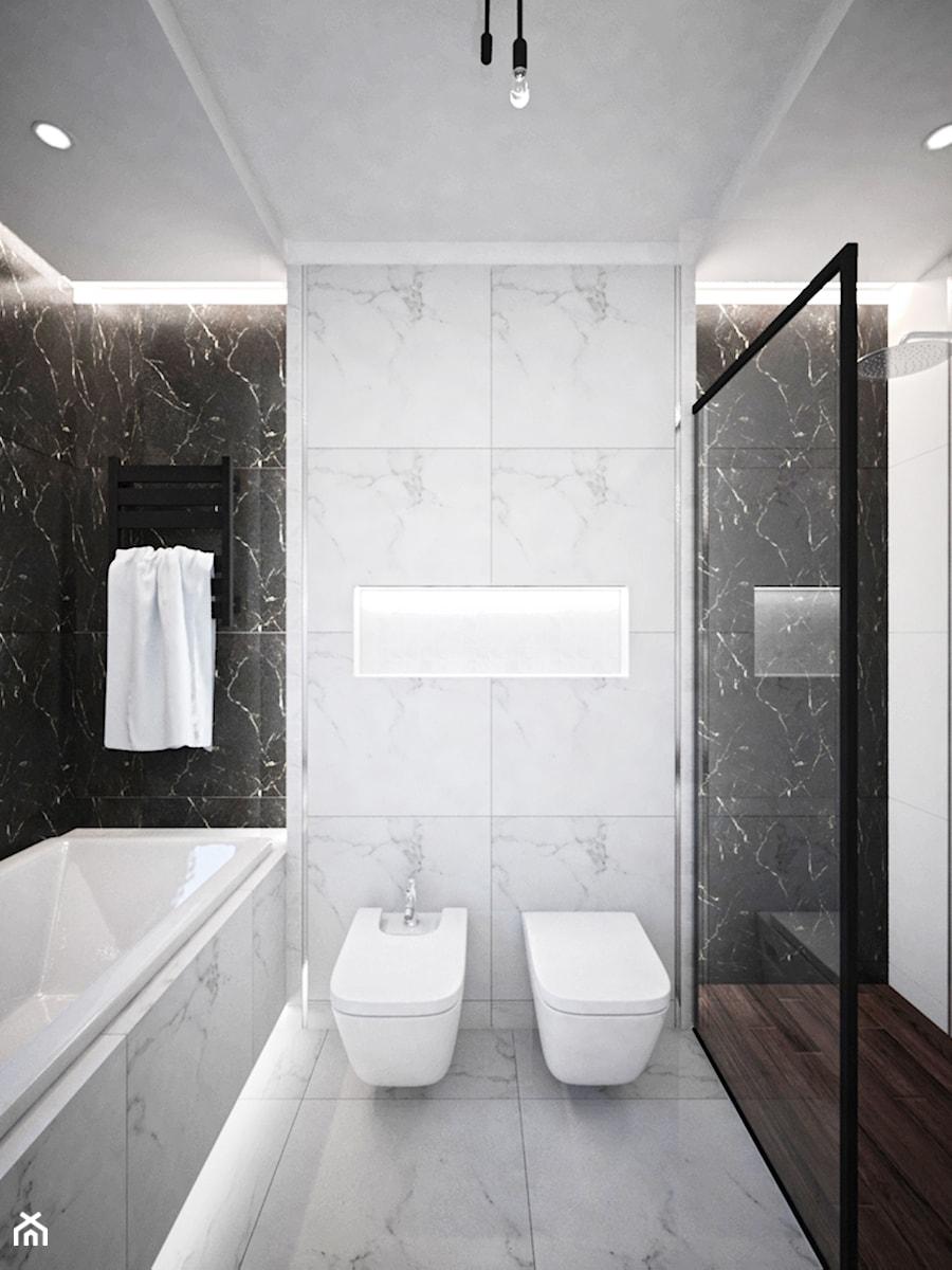 Aranżacje wnętrz - Łazienka: Łazienki w domu jednorodzinnym - Średnia biała czarna łazienka w bloku bez okna, styl glamour - Taki Projekt. Przeglądaj, dodawaj i zapisuj najlepsze zdjęcia, pomysły i inspiracje designerskie. W bazie mamy już prawie milion fotografii!
