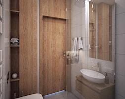 Wnętrza domu jednorodzinnego - Mała szara łazienka w bloku w domu jednorodzinnym bez okna, styl nowoczesny - zdjęcie od Taki Projekt - Homebook