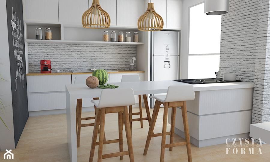 Biała Kuchnia Z Cegłą I Drewnem Zdjęcie Od Czysta Forma
