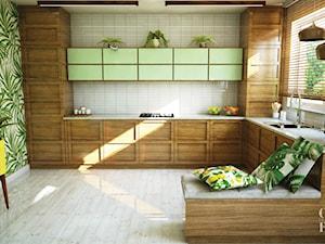 Naturalny salon z kuchnią i jadalnią