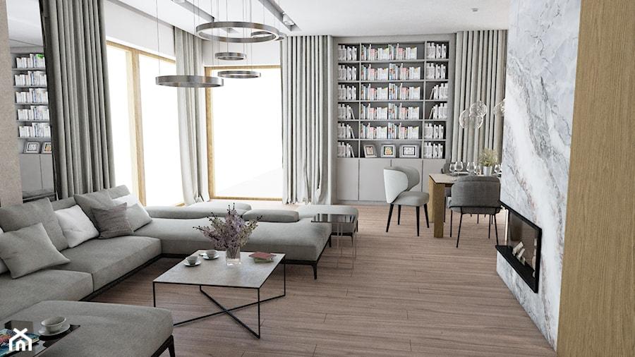 Dom w Marysinie k. Lublina - Średni szary salon z jadalnią - zdjęcie od CZYSTA FORMA