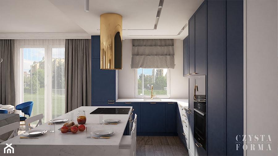 Nowojorski apartament w Lublinie - Średnia otwarta szara kuchnia w kształcie litery l z wyspą z oknem, styl nowojorski - zdjęcie od CZYSTA FORMA