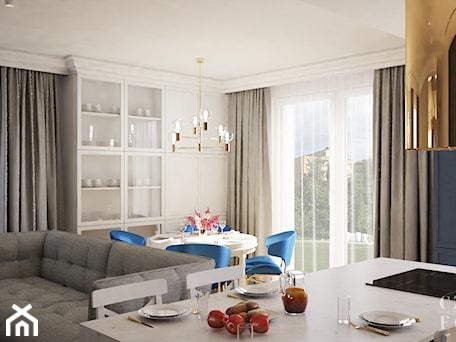 Aranżacje wnętrz - Jadalnia: Nowojorski apartament w Lublinie - Średnia otwarta biała niebieska jadalnia w kuchni w salonie, styl nowojorski - CZYSTA FORMA. Przeglądaj, dodawaj i zapisuj najlepsze zdjęcia, pomysły i inspiracje designerskie. W bazie mamy już prawie milion fotografii!