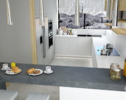 Dom w Tereszynie - Średnia otwarta biała czarna kuchnia w kształcie litery g z oknem, styl glamour - zdjęcie od CZYSTA FORMA