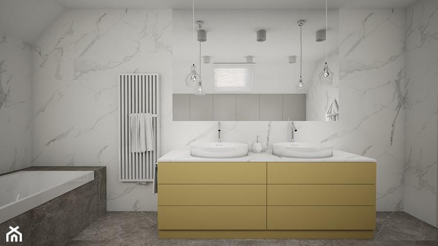 Dom w Marysinie k. Lublina - Średnia szara łazienka na poddaszu w domu jednorodzinnym z oknem - zdjęcie od CZYSTA FORMA