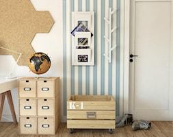 Dom w stylu Modern Farmhouse w Lublinie - Mały biały szary niebieski pokój dziecka dla chłopca dla dziewczynki dla ucznia dla malucha dla nastolatka - zdjęcie od CZYSTA FORMA