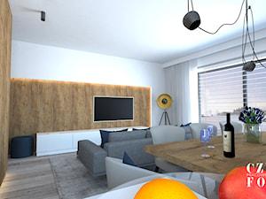 Apartament na Nowym Mokotowie - Średni biały salon z kuchnią z jadalnią, styl nowoczesny - zdjęcie od CZYSTA FORMA