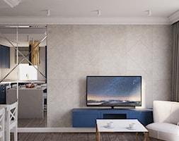 Nowojorski apartament w Lublinie - Mały szary salon z kuchnią z jadalnią, styl nowojorski - zdjęcie od CZYSTA FORMA
