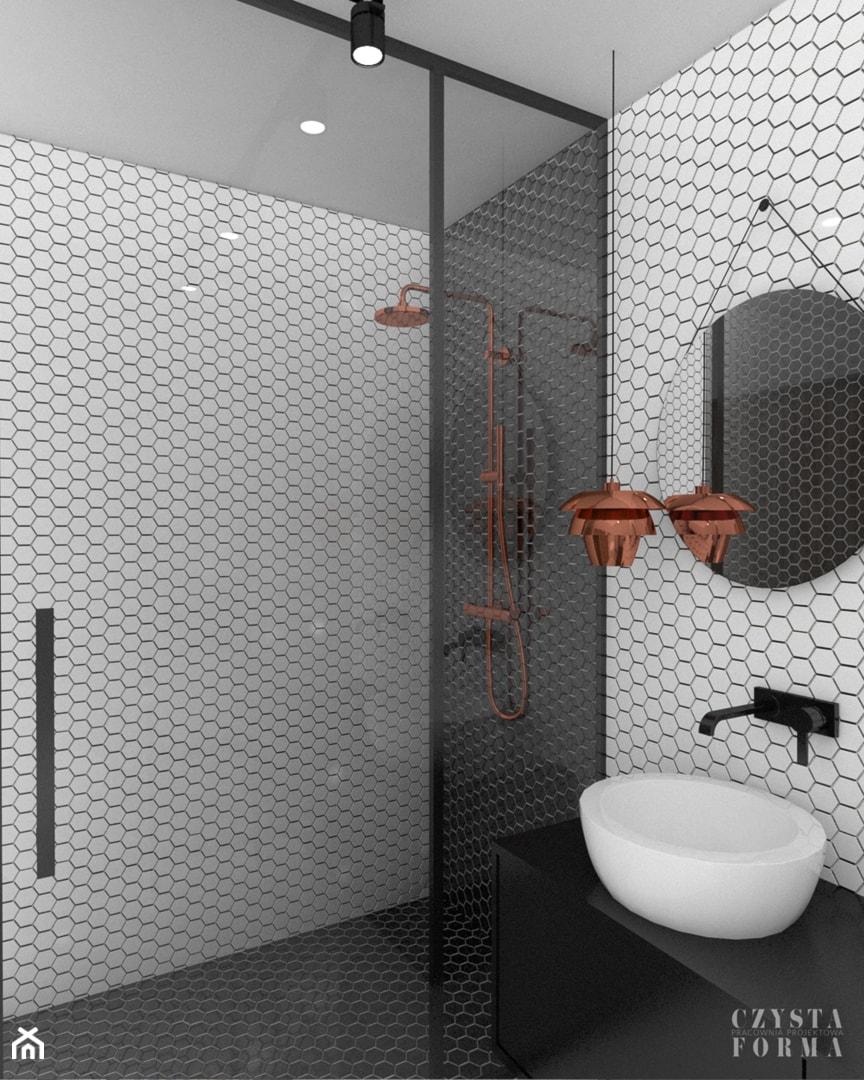 Czarno Biała łazienka Z Mozaiką Zdjęcie Od Czysta Forma