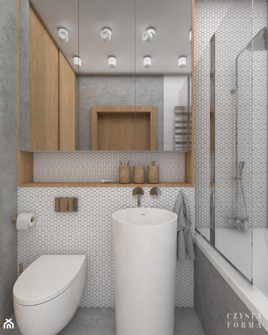 Łazienka z betonem woskowanym na ścianach i podłodze - zdjęcie od CZYSTA FORMA