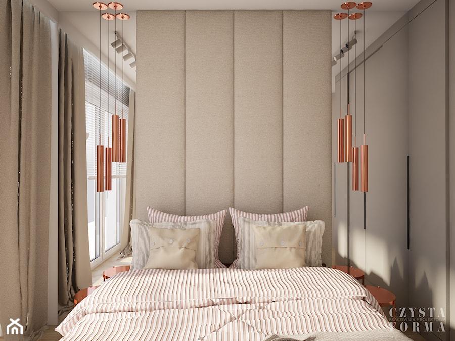 Sypialnia z tapicerowaną ścianą - zdjęcie od CZYSTA FORMA