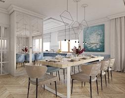 Dom pod Legionowem - Duża otwarta szara jadalnia w salonie - zdjęcie od CZYSTA FORMA